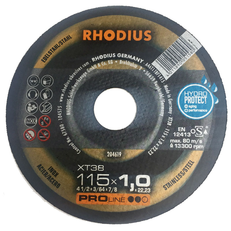 METAL CUTTING DISC 115X1X22 XT38INOX RHODIUS TOP FOR ST/ST