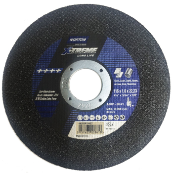 METAL CUTTING DISC 115X1X22 NORTON XTREME A60V FOR ST/ST
