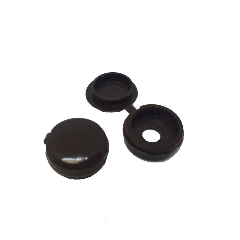 DARK BROWN HINGED SCREW COVER CAP 6-8G