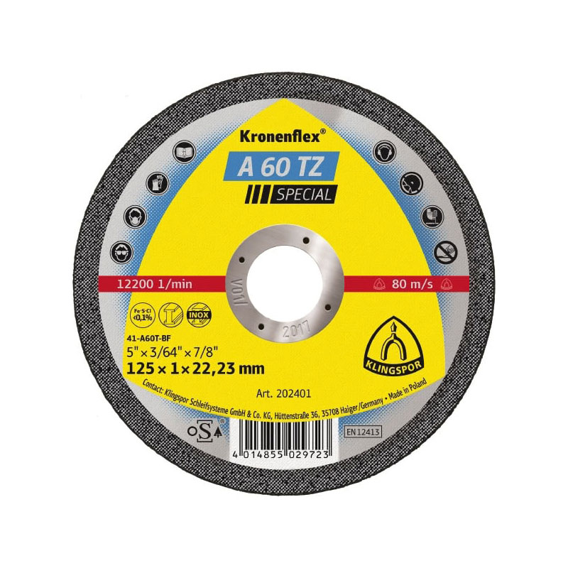 CUT-OFF WHEEL ST/ST 125 X1 X22 FLAT A60TZ KLINGSPOR 202401