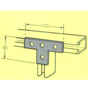 MB603 T BRACKET 3 X 1 HOLE 120mm X 80mm FB-121 CHFTB/005