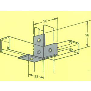 MB604 R HAND T CORNER BRACKET A214RH 90mm X 53mm FB-124