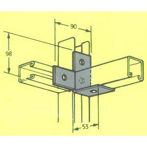 MB605 L HAND T CORNER BRACKET A214LH 90mm X 53mm FB-123
