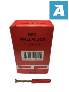 Red Plastic Wallplug, Screw Size 3.5mm-5mm