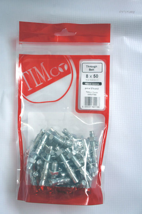 TIMBAG 12180TBB BAG=8 M12 X 180 THROUGH BOLTS ZC