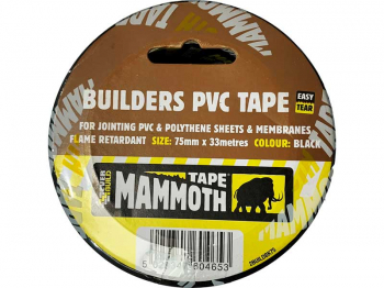 BUILDER PVC POLYTHENE JOINTING TAPE BLACK 75 X 33MT MAMMOTH