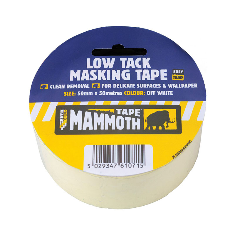 LOW TACK MASK TAPE MAMMOTH 50MM X 50MT EVERBUILD