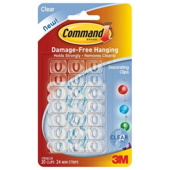 3M COMMAND DECORATING CLIP CLEAR STRIP 17026CLR