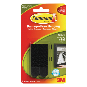 3M COMMAND MED PICTURE STRIPS BLACK 4PK 17201BLK