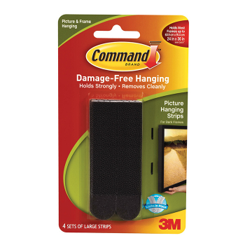 3M COMMAND LRG PICTURE STRIPS BLACK 4PK 17206BLK