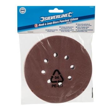 Silverline Hook & Loop Punched Sanding Discs - Value Range (Pack 10)