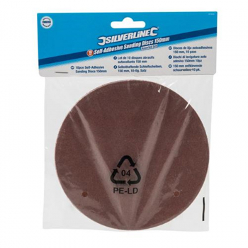 Silverline Self-Adhesive Sanding Discs - Value Range (Pack 10)