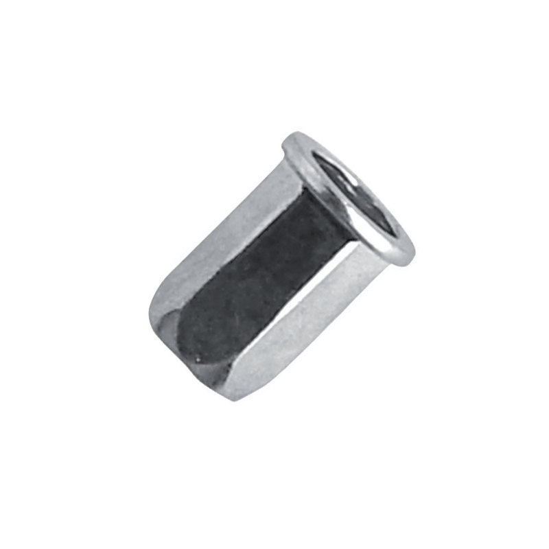 Blind Rivet Nut Steel Zinc - Hexagon Body, Cylindrical Head (Flange)