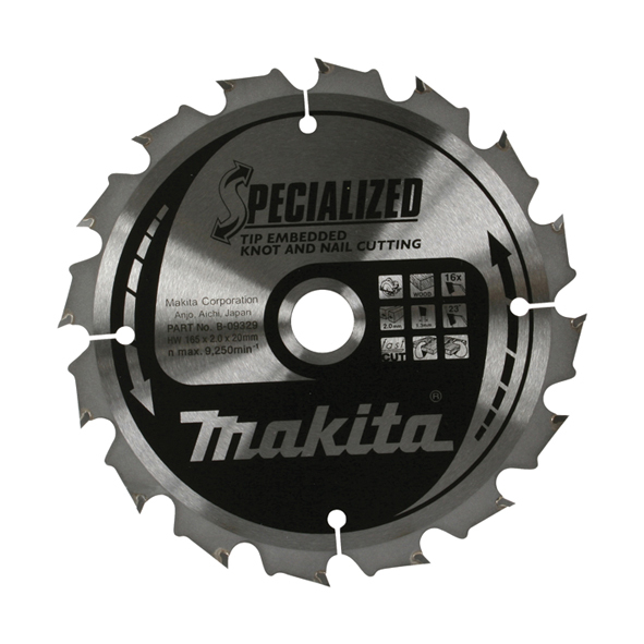 Makita Specialised Tip Embedde d Blade 165 X 20 16T B-09329