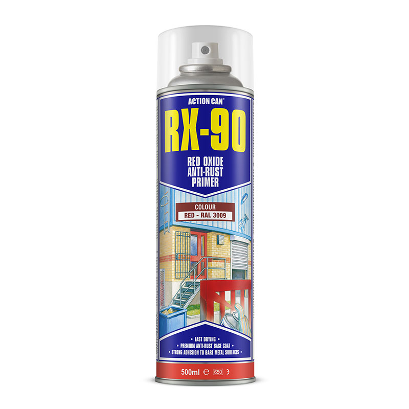 RX-90 RED OXIDE PRIMER PAINT 500ML AEROSOL ACTION CAN