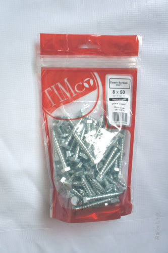 TIMPAK 1050CSCP PACK=4 M10 X 50 COACH SCREWS ZC