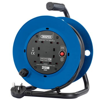 DRAPER 02121 230V FOUR SOCKET INDUSTRIAL CABLE REEL 25MT