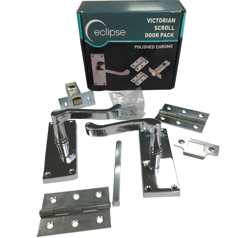 PCP Scroll Lever Latch Pack (Boxed) Polished Chrome