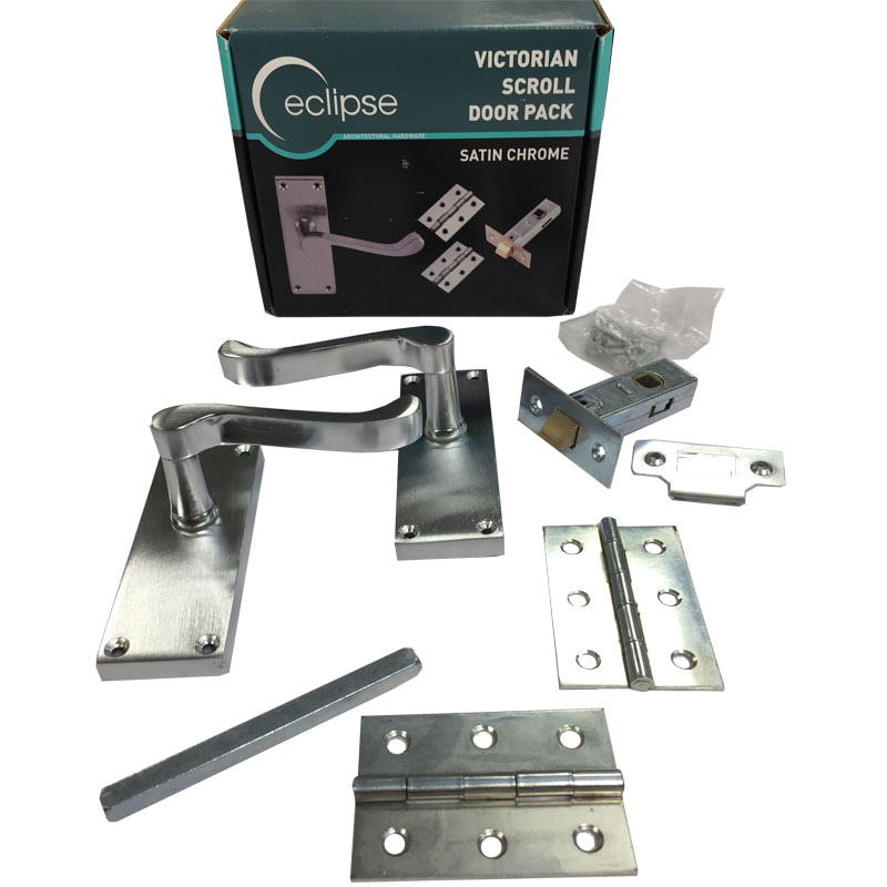 SCP Scroll Lever Latch Pack (Boxed) Satin Chrome