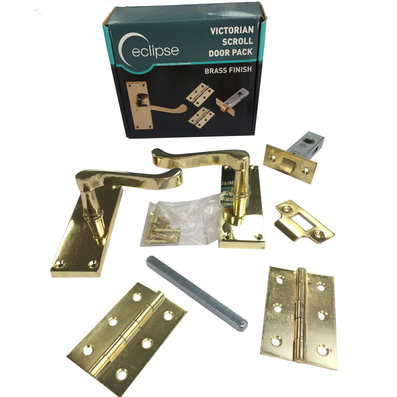 PB Scroll Lever Latch Pack (Boxed) Electro Brassed