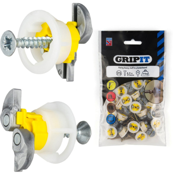 15mm Yellow Gripit -Pack of 25 + Screws