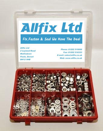 SELECTION PACK A2/STAINLESS METRIC NUTS & WASHERS 890PC