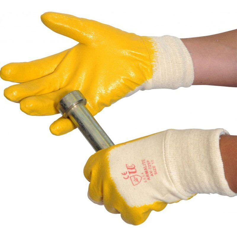 ARMALITE AV725P YELLOW SIZE 10 NITRILE PALM DIP GLOVES