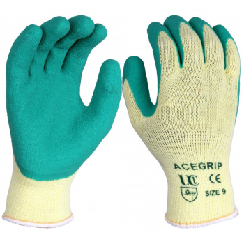 ACE-GRIP GREEN GLOVES SIZE 9 ACE/RPGN/09