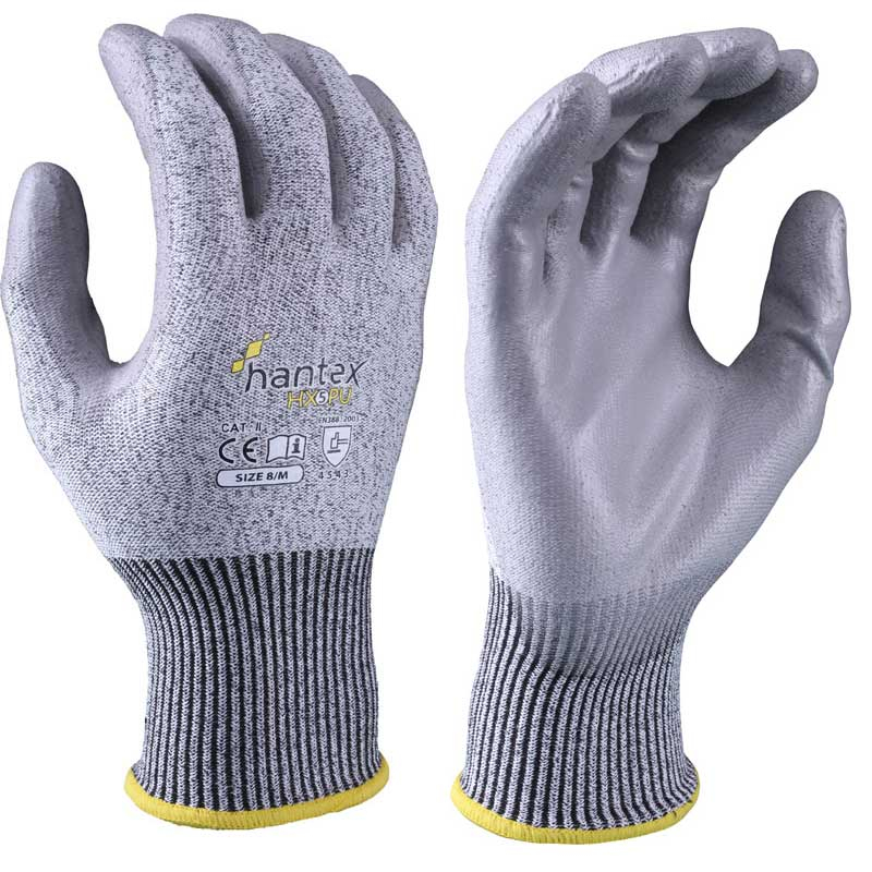 PU PALM GLOVES CUT RESISTANT 5 GREY SIZE 9 HANTEX-HX5/PU/09