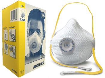 MOLDEX 3205 BOX=10 FFP3 AIR VALVED NR D MASKS MED/LG