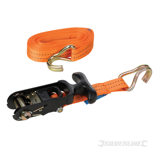 Rubber Ratchet Tie Down Strap Silverline Rated 400kg Cap1200