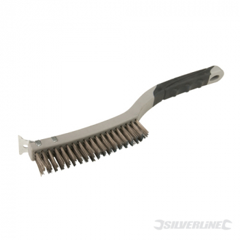 Stainless Steel Wire Brush Silverline 3 Row with Scraper