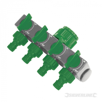 4-Way Tap Connector Silverline 3/4inch & 1/2inch Male