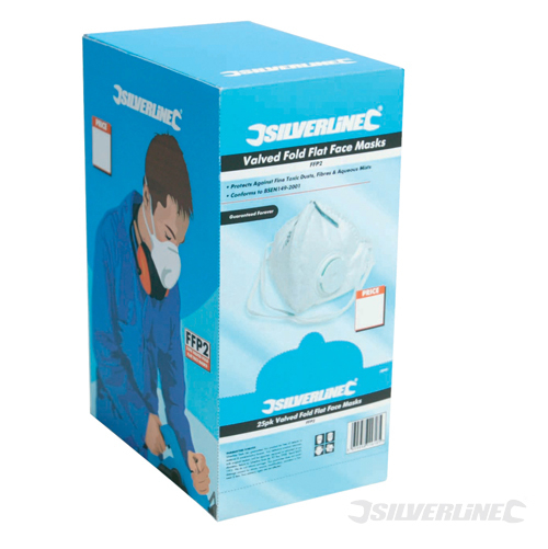 Fold Flat Valved Face Mask FFP Silverline FFP2 NR Box 25pk