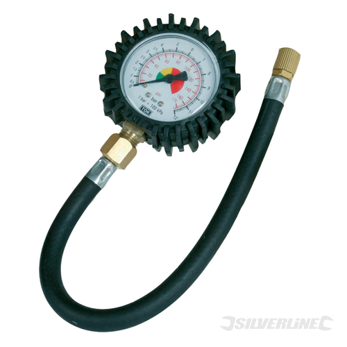 Tyre Dial Gauge Silverline 0 - 100psi (0 - 10b