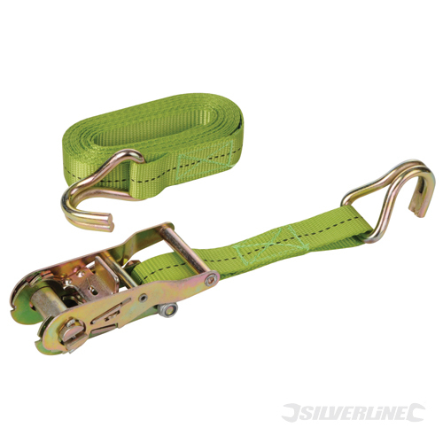 Ratchet Tie Down Strap J-Hook Silverline Rated 400kg Cap1200