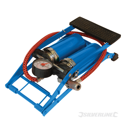 Foot Pump HDuty Double Barrel Silverline 470cc
