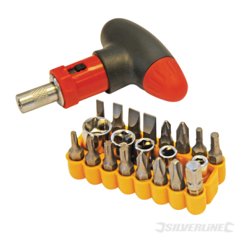 T-Handle Ratchet Screwdriver Silverline Set 22pce