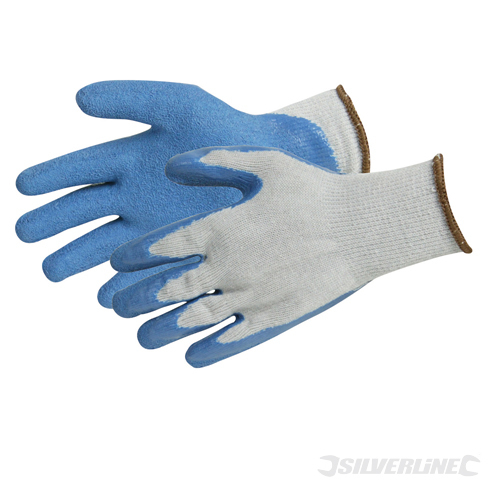 Latex Builders Gloves Silverline L 10