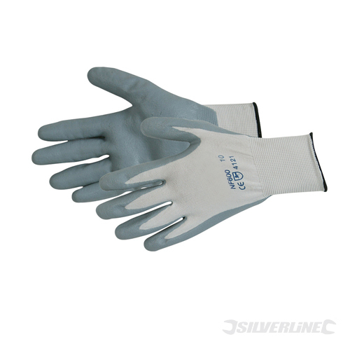 Foam Nylon Nitrile Gloves Silverline Large