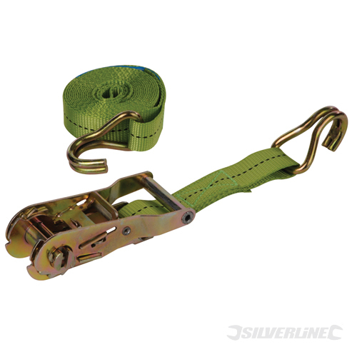Ratchet Tie Down Strap J-Hook Silverline Rated 350kg Cap1000