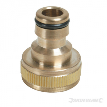 Tap Connector Brass Silverline 3/4inch BSP - 1/2inch Mal