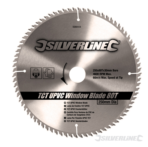 TCT UPVC Window Blade 80T Silverline 250 x 30 - 25, 20,