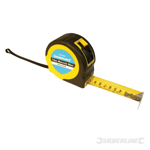 Measure Max Tape Silverline 7.5m / 25ft x 25mm