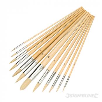 Artists Paint Brush Set 12pce Silverline Pointed Tips