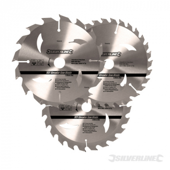 TCT CircSaw Blades 16,24,30T Silverline 135mm & Rings 3pk