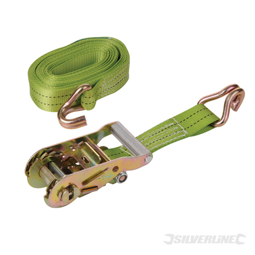 Ratchet Tie Down Strap J-Hook Silverline Rated 750kg Cap1950