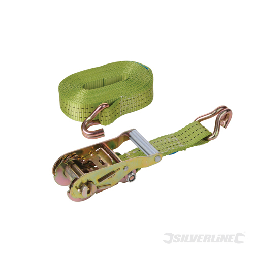 Ratchet Tie Down Strap J-Hook Silverline Rate 1000kg Cap2777
