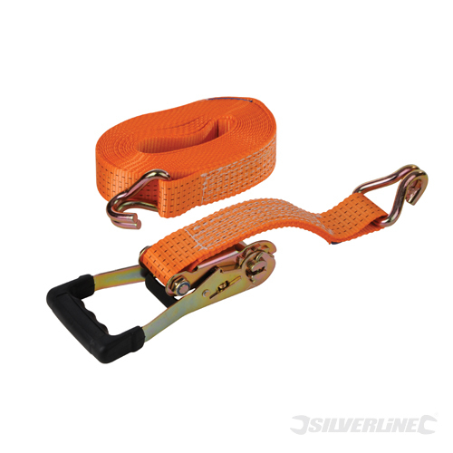 Rubber Ratchet Tie Down Strap Silverline Rate 1700kg Cap4600