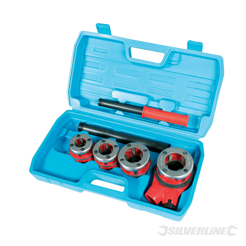 Pipe Threading Kit 5pce Silverline 1/2inch, 3/4inch, 1inch & 1-